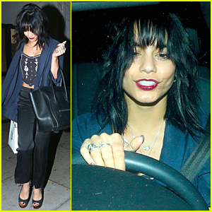 Vanessa Hudgens Rocks Dark Black Hair & Bangs