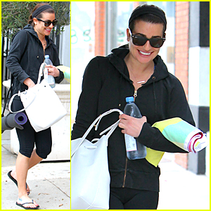 Lea Michele Looks Like the Happiest Person Before Her Yoga Workout