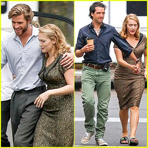 Liam Hemsworth & Kate Winslet Enjoy Each Other's Company on 'Dressmaker' Set