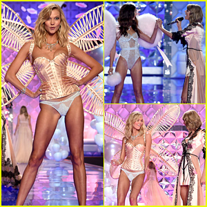 Karlie Kloss Shares a Cute Moment with Taylor Swift at the Victoria's Secret Fashion Show!