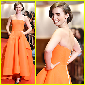 Lily Collins Looks Flawless in Orange at  'Love, Rosie' Tokyo Premiere