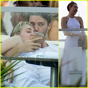 Miley Cyrus Looks So Happy to Get Kiss From Boyfriend Patrick Schwarzenegger