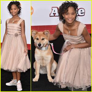 Quvenzhane Wallis Brings a Dog to the NYC 'Annie' Premiere!