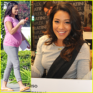 Gina Rodriguez Wears Fake Baby Bump on 'Jane the Virgin' Set