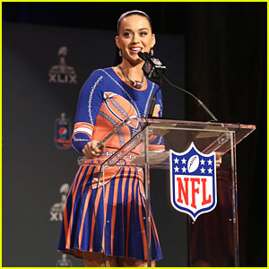 Katy Perry is Covered in Footballs for the Super Ball Press Conference!