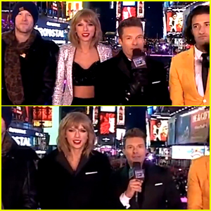Taylor Swift Freezes on New Year's Eve & Warms Up with Ryan Seacrest's Help!