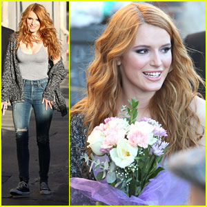Bella Thorne Gets Flowers From Fans Before 'Jimmy Kimmel Live' Appearance