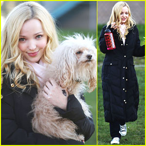 Dove Cameron Cuddles With Dog on 'Monsterville' Set