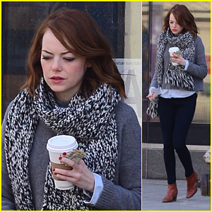 Emma Stone Keeps Warm in the Chilly NYC Weather!