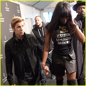 Justin Bieber & Naomi Campbell Walk Hand-in-Hand at Her Charity Fashion Show