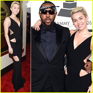 Miley Cyrus Goes Sleek in Black at the Grammys 2015