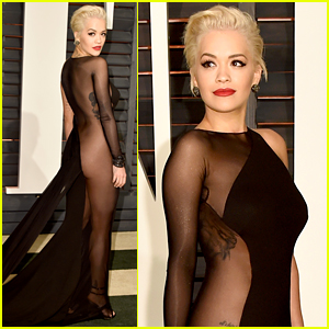 Rita Ora Rocks Sheer Dress for Oscars After Party 2015