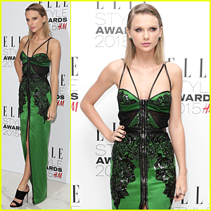 Taylor Swift Goes Emerald Green For Elle Style Awards 2015