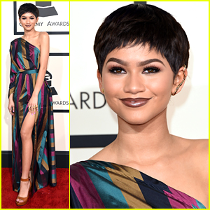 Zendaya Debuts Short Pixie Cut & Lots Of Leg For Grammys 2015