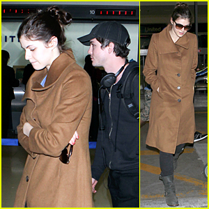 Alexandra Daddario & Logan Lerman Fly Into LAX Airport Together