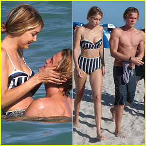 Shirtless Cody Simpson & Bikini-Clad Gigi Hadid Engage In PDA in the Ocean!