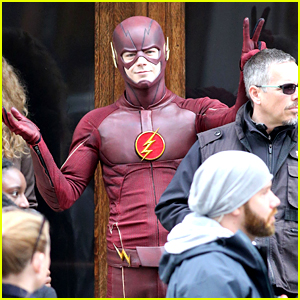 Grant Gustin Shows Off Playful Side on 'The Flash' Set!