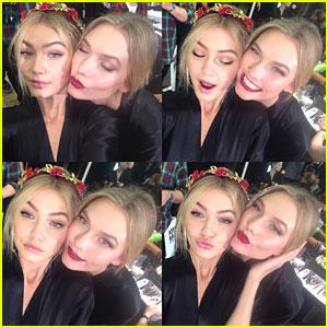 Karlie Kloss & Gigi Hadid Share Silly Backstage Selfies From Dolce & Gabbana Milan Fashion Show