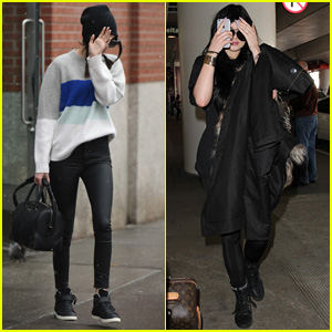 Kendall & Kylie Jenner Keep It Low-Key While Mom Kris Travels Abroad