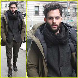 Penn Badgley Bundles Up For Chilly NYC