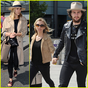 Aaron Taylor-Johnson & Elizabeth Olsen Land in London for 'Avengers: Age of Ultron'