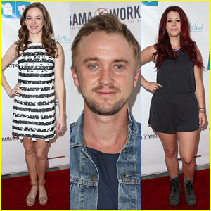 Danielle Panabaker & Tom Felton Celebrate with Milk & Bookies!