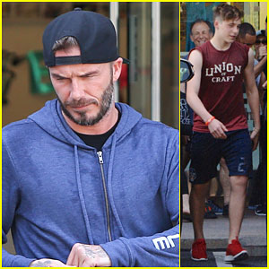 Brooklyn Beckham Joins His Dad David For SoulCycle