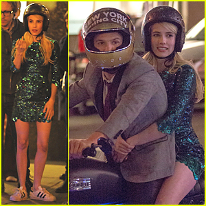 Emma Roberts Goes Sparkling Green For 'Nerve' Motorcycle Scene