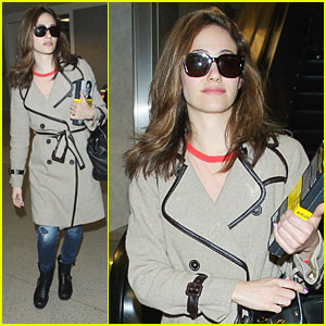 Emmy Rossum Flies Back To Los Angeles After Lilly Pulitzer Launch