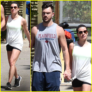 Lea Michele & Matthew Paetz Work On Their Fitness Together