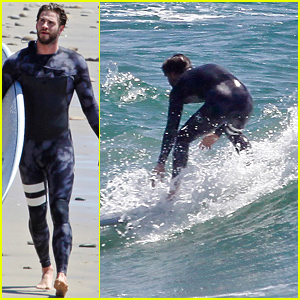 Liam Hemsworth Hits the Waves in his Wetsuit!
