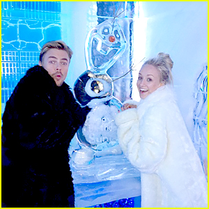 Nastia Liukin & Derek Hough Visit Olaf Ahead of DWTS Disney Week