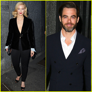 Sarah Gadon & Chris Pine Put On Their Best for Giorgio Armani 40th Anniversary Dinner!
