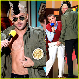 Zac Efron Goes Shirtless Again at MTV Movie Awards!