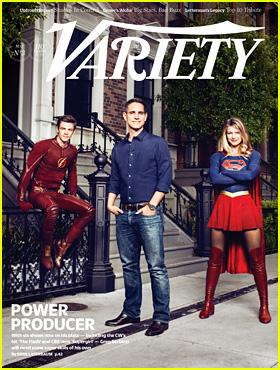 Grant Gustin & Melissa Benoist Don Superhero Costumes for 'Variety' Cover With Greg Berlanti