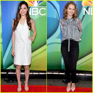 Miranda Cosgrove & Bridgit Mendler Promote Their Shows at NBC Upfront!