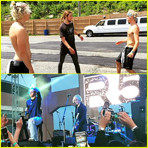 Ross & Riker Lynch Go Shirtless For Hacky Sack Game Before Scranton Weekend Concert