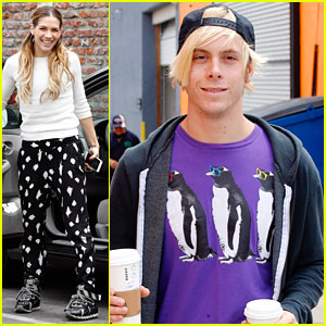 Riker Lynch Wears Cool Penguin Shirt For DWTS Finals Practice With Allison Holker