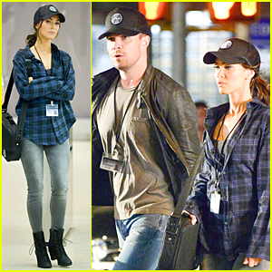 Stephen Amell & Megan Fox Rock Caps For 'TMNT 2' Shoot
