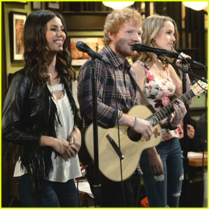 Bridgit Mendler & Victoria Justice Perform With Ed Sheeran on 'Undateable' Live Episode - See The Pics!