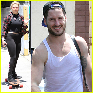 Witney Carson Skateboards To DWTS Tour Practice with Val Chmerkovskiy