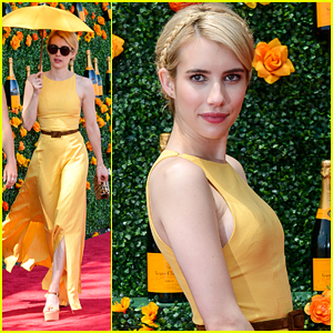 Emma Roberts Wears The Perfect Yellow Dress For Veuve Polo Classic Emma Roberts Just Jared Jr