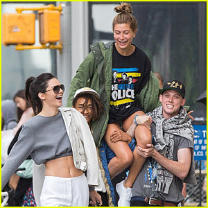 Kendall Jenner Snaps Pic of Jaden Smith Giving Hailey Baldwin a Shoulder Ride