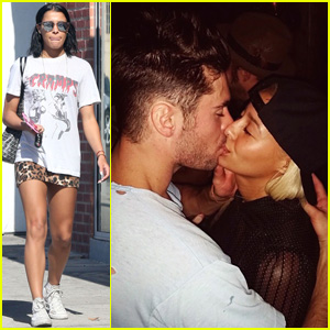 Sami Miro & Zac Efron Pack on the PDA for National Kissing Day!
