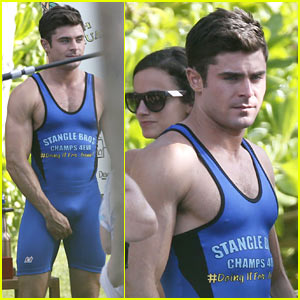 Zac Efron Wears Tight Wrestling Singlet with Adam DeVine!