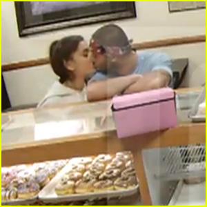 Ariana Grande Kisses Backup Dancer Ricky Alvarez in a Donut Shop (Video)