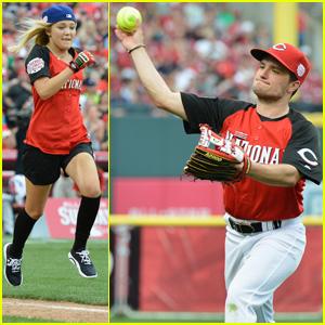 Olivia Holt & Josh Hutcherson Play in MLB All-Star Celebrity Softball Game!