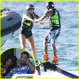 Kylie Jenner Cozies Up to Boyfriend Tyga on Board a Yacht in St. Barts