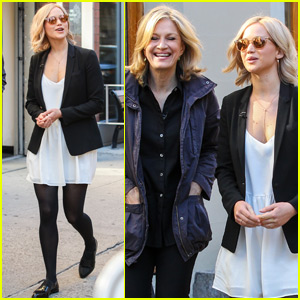 Jennifer Lawrence Films an Interview With Diane Sawyer In New York