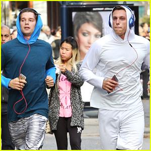 Patrick Schwarzenegger Takes Jog With Friend During 'Midnight Sun' Filming Break
